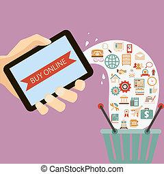 concetto, appartamento, stile, comprare, icone, mobile, illustrazione, mano, colori, vettore, disegno, retro, presa a terra, linea, congegno, ecommerce