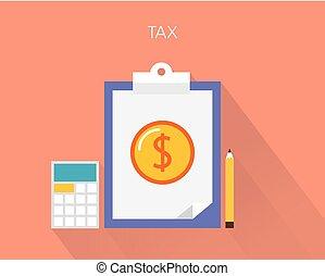 concetto, appartamento, vettore, tassa, illustrazione