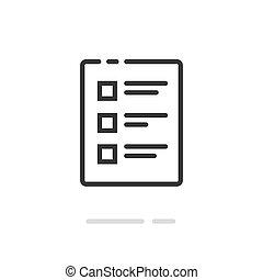 concetto, arte, feedback, pictogram, fatto, prova, clipart, cose, linea, documento, forma, lista, completato, simbolo, linea, contorno, quiz, elenco, o, vettore, checkboxes, icona, votazione, esame
