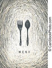 concetto, arte, menu ristorante, vector., design.