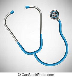 concetto, arte, stetoscopio, medico, equipment., isolato, illustrazione, creativo, fondo., disegno, medicina, salute, elemento, astratto, cura