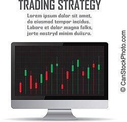 concetto, arte, strategy., commercio linea, strategie, linea, investimento