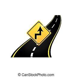 concetto, asfalto, curve, segno, grafico, strada