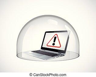 concetto, assicurare, protezione, laptop, -, cupola, contro, vetro, computer, virus