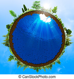 concetto, astratto, ambientale, verde, disegno, tuo, mondo