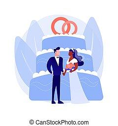 concetto, astratto, matrimonio mescolato, vettore, illustration.