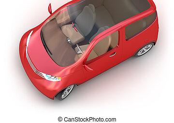 concetto, automobile, cima, isolato, rosso, 3d