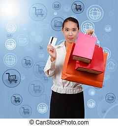 concetto, bags., rete, affari, mostra, comunicazione, spending., simboli, fondo, borderless, shopping, internet., donne
