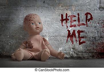 concetto, bambola, -, sanguinante, abuso, bambino