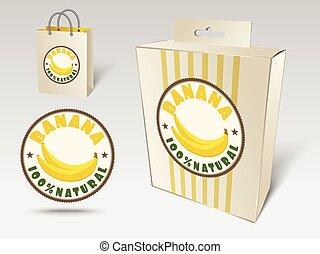 concetto, banana, etichetta