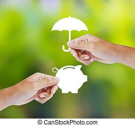 concetto, banca, piggy, assicurazione