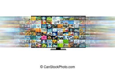 concetto, banda larga, tv, collegamento, internet, far male