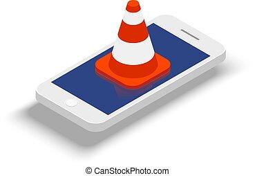 concetto, barriera, telefono, comunicazione mobile, illustrazione, fondo., vettore, bianco, ban.