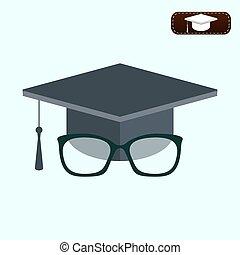 concetto, berretto, graduazione, education., glasses., icona
