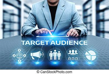 concetto, bersaglio, affari, marketing, pubblico, tecnologia internet