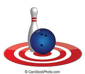 concetto, bersaglio, palla, bowling