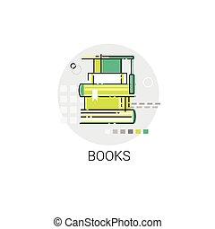 concetto, biblioteca, libri, educazione, pila, icona