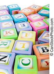 concetto, blocchi, alfabeto, -, mucchio, cultura, educazione