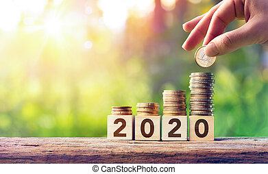 concetto, blocchi, legno, monete, -, previsione, crescita, 2020, pila