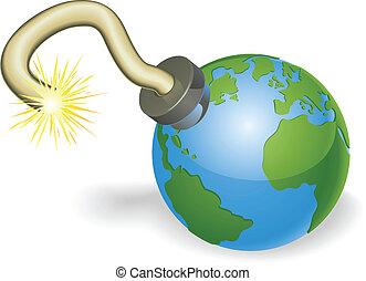 concetto, bomba, globo, forma, tempo, mondo