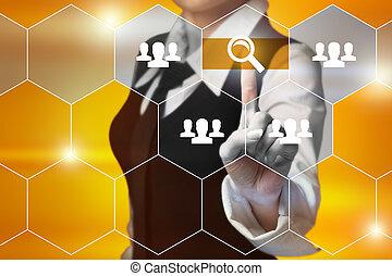 concetto, bottone, -, virtuale, affari, schermi, urgente, internet, uomo affari, tecnologia