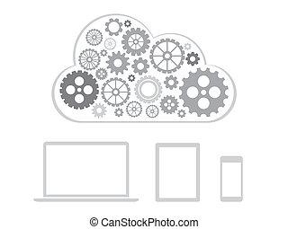 concetto, calcolare, -, congegni, disegno, collegato, nuvola