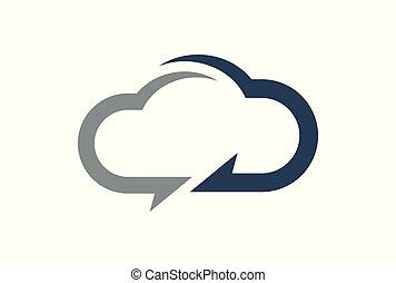 concetto, calcolare, logotipo, dati, nuvola, icona
