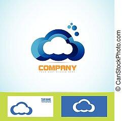 concetto, calcolare, logotipo, tecnologia, nuvola, icona