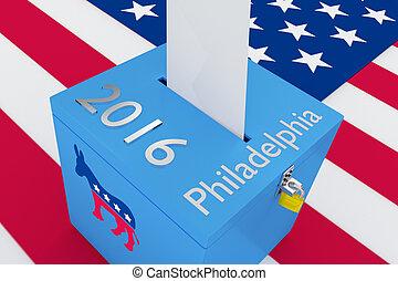 concetto, candidato, elezione, 2016, presidenziale, democratico