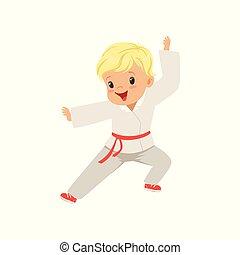 concetto, carino, poco, bambini, ragazzo, illustrazione, karate, vettore, chimono, fondo, attività, bianco, fisico