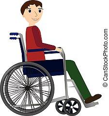 concetto, carrozzella, medico, giovane, invalido, salute, uomo