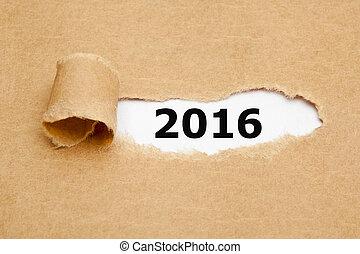concetto, carta lacerata, 2016, anno