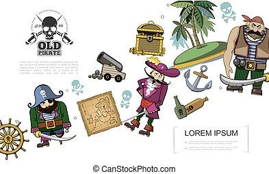 concetto, cartone animato, pirati