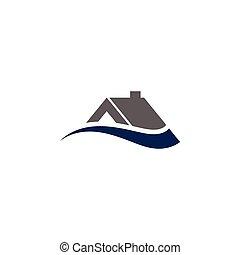 concetto, casa, astratto, illustrazione, disegno, sagoma, swoosh, logotipo