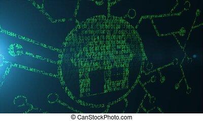 concetto, casa, codice,  computer, far male