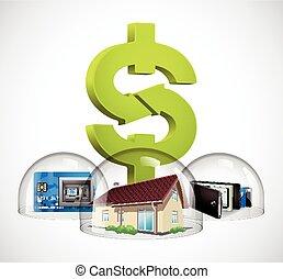 concetto, casa, -, cupola, vetro, protezione, soldi