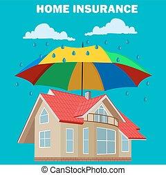 concetto, casa, disegno, assicurazione