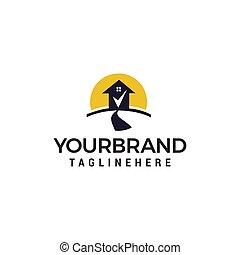 concetto, casa, marchio, vettore, disegno, sagoma, logotipo, assegno, strada