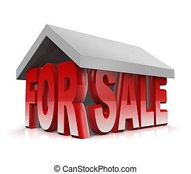 concetto, casa, vendita, illustrazione, proprietà, 3d