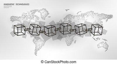 concetto, catena, cryptocurrency, flow., terra, blockchain, bitcoin, quadrato, sagoma, internazionale, cubo bianco, finanza, affari, grande, simbolo, illustrazione, dati, map., pianeta, vettore, code.