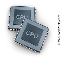 concetto, centrale, cpu, unità, processore