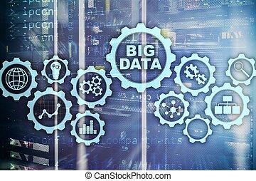 concetto, centro, affari, schermo grande, production., server, fondo., ciao tecnologia, virtuale, innovazione, dati
