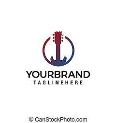 concetto, chitarra, vettore, disegno, sagoma, logotipo