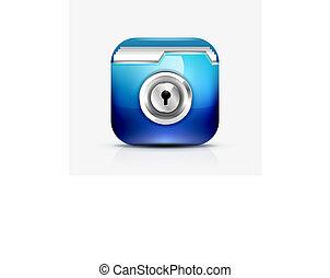concetto, chiuso chiave, /, protezione, cartella, icona