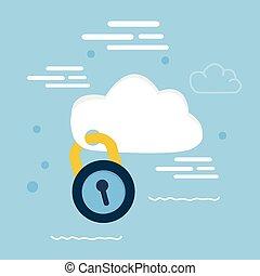 concetto, chiuso chiave, serratura, illustrazione, cuscinetto, sicurezza, dati, nuvola, icona