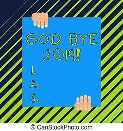 concetto, ciao, buono, parola, ultimo, affari, testo, espresso, quando, scrittura, year., auguri, dio, fine, 2019., o, scriminatura