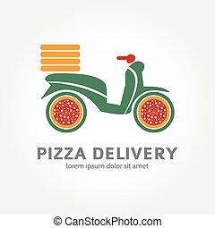 concetto, cibo, logotype, consegna, design., logotipo, pizza, icona