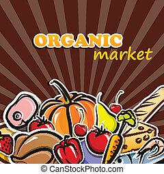 concetto, cibo organico, illustrazione, cibo., vettore