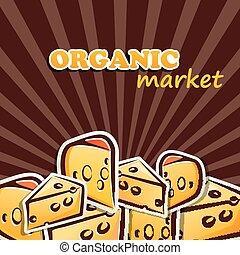concetto, cibo organico, illustrazione, vettore, cheese.