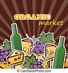 concetto, cibo organico, illustrazione, vettore, grapes., formaggio, vino